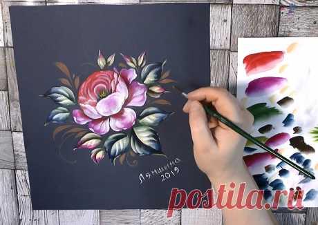 Рисуем розу акриловыми красками | О Творчестве с Ириной Лямшиной | Яндекс Дзен