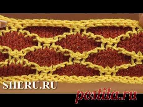 Knitting Jacquard Stitch Pattern la Lección de 23 Zhakkardovyy la cinta por los rayos