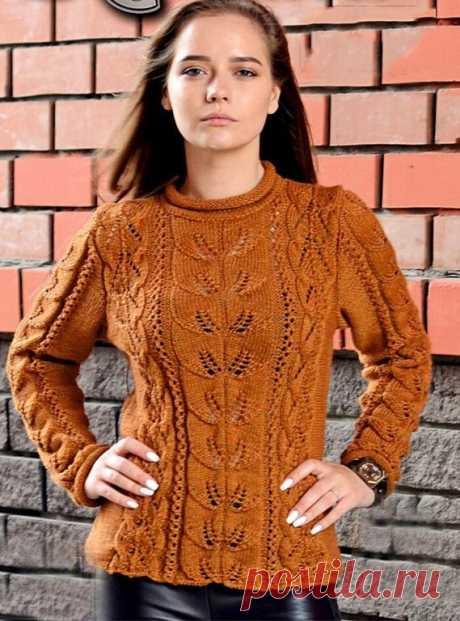 Пуловер с ажурным узором и узором листики – Журнал Вдохновение Рукодельницы