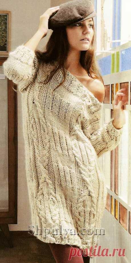 www.SHPULYA.com - Платье с косами, вязаное спицами