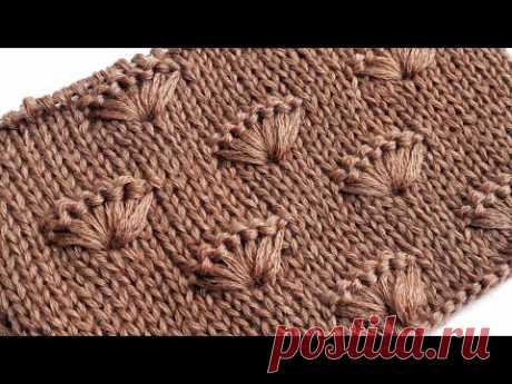 Ракушки на лицевой глади / Простой узор спицами для вязания свитера,  шапки, пледа - YouTube