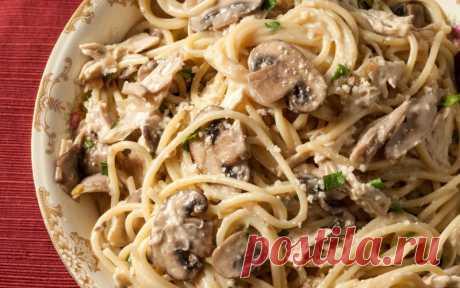 Спагетти с грибами в сливочном соусе — Sloosh – кулинарные рецепты