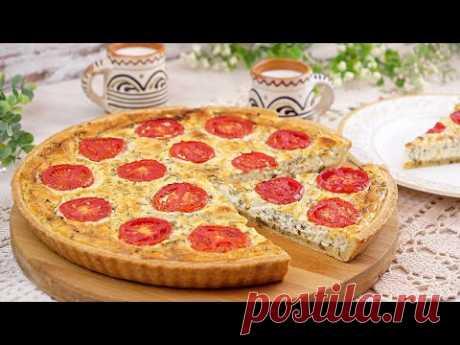 🍕Открытый пирог из песочного теста с творожным сыром и зеленью! 🧀 Рецепт сырного закусочного пирога!