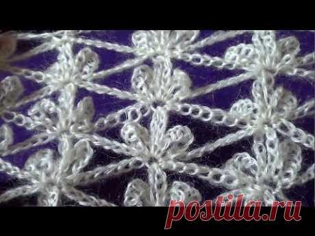 Ажурный узор Трилистники - Lace pattern Trefoils