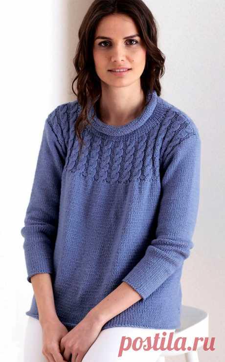 Джемпер с косами и укороченным рукавом (Вязание спицами) – Журнал Вдохновение Рукодельницы