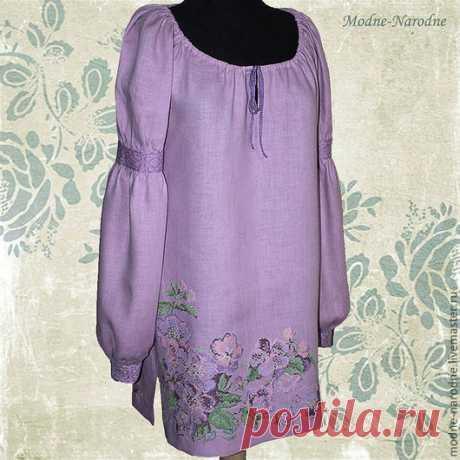 Купить туника с ручной вышивкой Яблоневый сад - бледно-сиреневый, платье, платье-туника