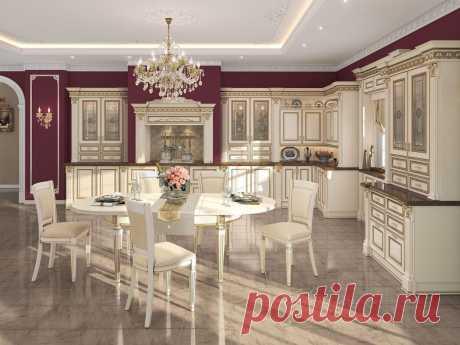 Угловая кухня в классическом стиле из массива ольхи С-2