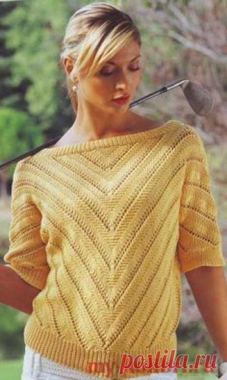 Красивый вязаный пуловер спицами с V-образным узором по диагонали со схемой и описанием на сайте Колибри. Рукав три четверти и резинка по нижнему краю изделия очень хорошо дополняют основной узор.