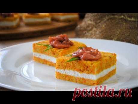 Закусочное Пирожное с Красной Рыбой на Праздничный Стол 🌟 Закуска на Новогодний Стол 2020🌟 - YouTube