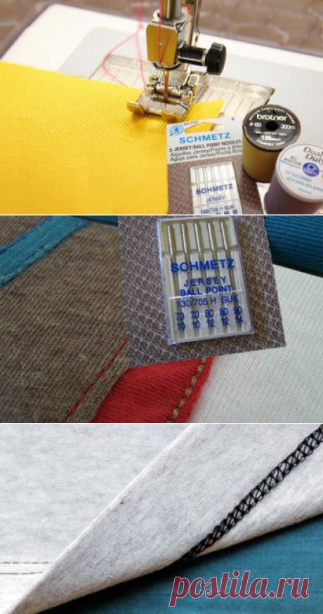 Как шить трикотаж | Трикотажная строчка без пропусков и петляния