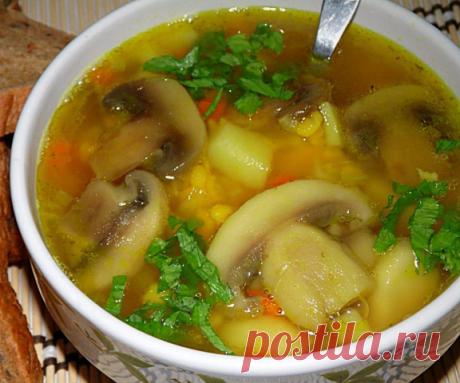 Необычный гороховый суп с курицей и грибами. Будут просить добавку!