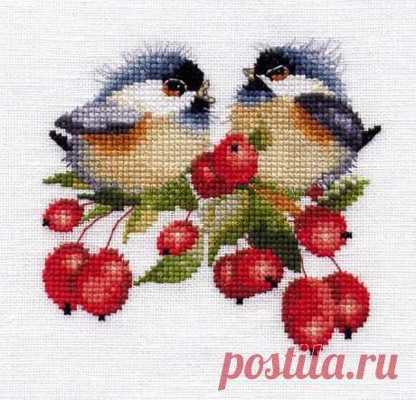 Миниатюрные милые синички дизайнера Валери Пфайффер. Вышиваем с удовольствием!