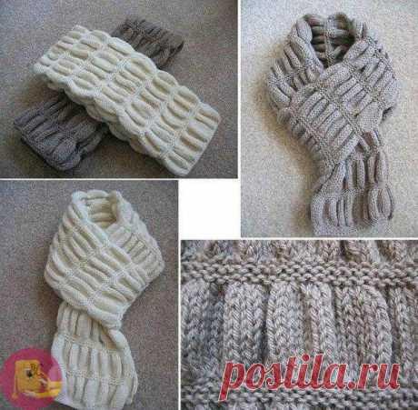 Вяжем нарядный и теплый шарф гармошкой — Сделай сам, идеи для творчества - DIY Ideas