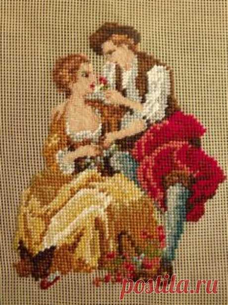 Винтажная вышивка крестиком. Цветная Схема