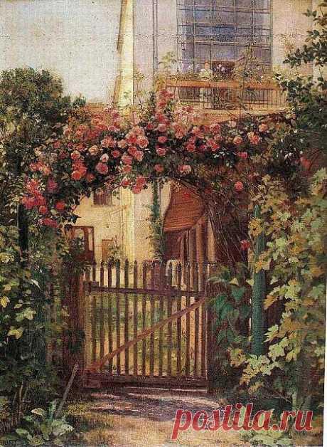 Uroš Predić - Pogled kroz luk ruža (1916) Uros Predic - View through the arch of roses (1916)