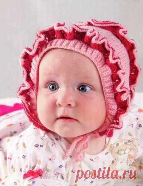 Чепчик с рюшами на 6-9 месяцев | «Хомяк55.ру» сайт о вязании