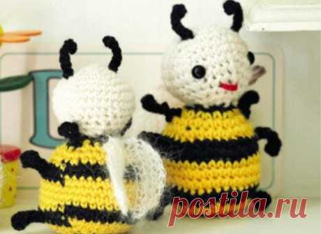 Амигуруми. Вяжем забавных пчелок крючком. Подробное описание.