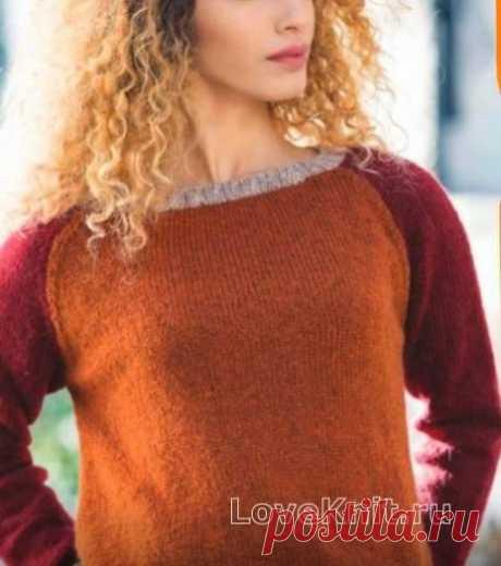 Цветной пуловер с рукавом реглан схема спицами » Люблю Вязать