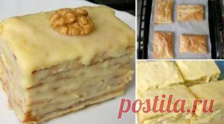 Слоеное пирожное со сгущенкой. Очень простые в приготовлении Нежные и мягкие пирожные из слоеного теста и крема со сгущенкой, просто тают во рту!