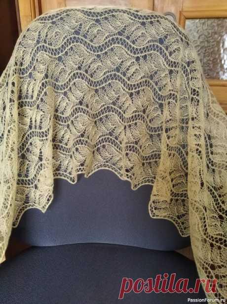 Маленький палантин (или большой шарф?) | Вязание шали спицами