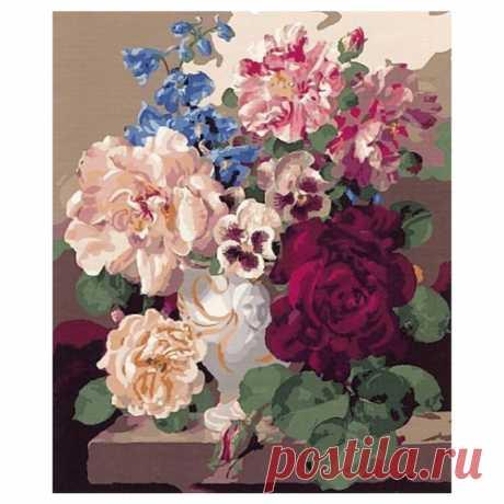 """Paintboy Картина по номерам """"Розы и анютины глазки"""" 40х50 см (GX7055) — купить по выгодной цене на Яндекс.Маркете"""