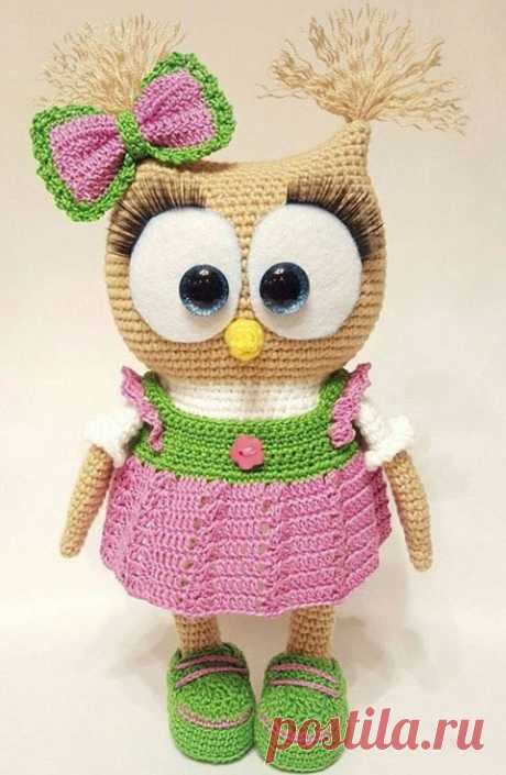 33 owls a hook with schemes and the description of process of knitting