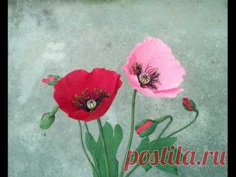 Как сделать мак цветок из гофрированной бумаги - Craft Учебник
