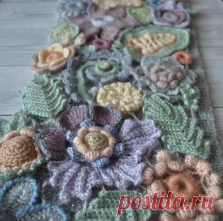 Knitted scarf Irish crochet Light multi-color scarf | Etsy