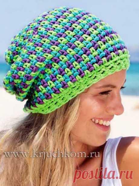 разноцветная шапка бини вязаная крючком