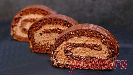 """Этот РУЛЕТ советую приготовить всем - ПРОСТО объедение! Шоколадный рулет """"Прага"""" — Кулинарная книга"""