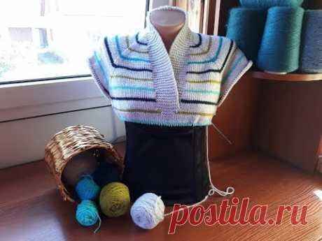 Пуловер с карманом (из остатков пряжи). Часть 2. Росток. Подрезы. Планка - воротник.