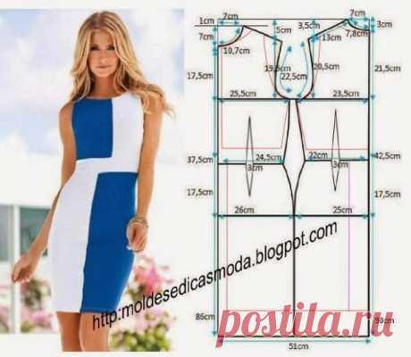 Платье-футляр, выкройка на размер 38-40 (евр.) #простыевыкройки #простыевещи #шитье #платье #платьефутляр #выкройка