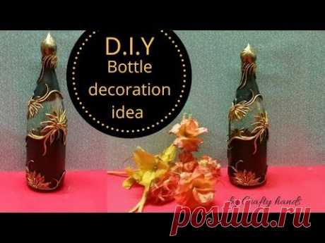 DIY bottle art | Antique floral pattern on bottle for beginners by Crafty hands