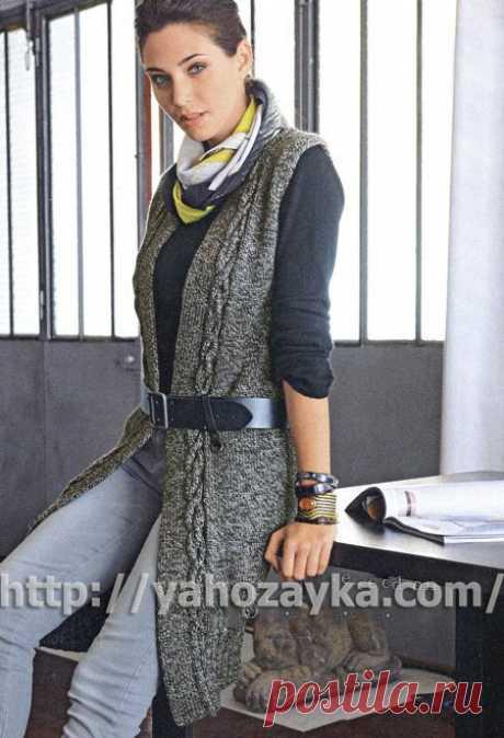 Схема вязания длинного жилета спицами - вязание для домохозяек.
