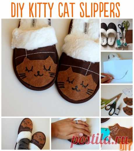 Slippers the hands  \u000d\u000a\u000d\u000aWill help to keep fingers in the warm this winter 10 original ideas of slippers which you can make with own hands. Slippers — Materialy:tapochki's Kitties, the glue gun, paint for fabric, two couples …