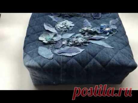 Джинсовая Сумка2 / Wdtns из джинсы /Шьем сумочку / jeans bag / jeans flowers /do-it-yourself handbag