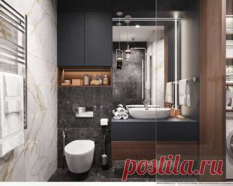 Ванная комната 7 кв.м в Москве от студии DHOME