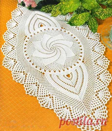 Белая овальная салфетка | Шкатулочка для рукодельниц