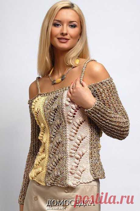Пуловер с открытыми плечами   ДОМОСЕДКА