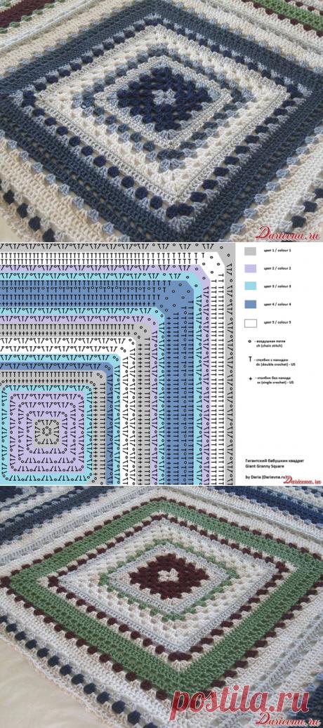 La labor de punto por el gancho los motivos los cuadrados. Los motivos por el gancho del esquema.