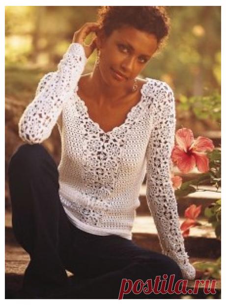 Ажурный пуловер с цветочными мотивами. Крючком. / kruchcom.ru