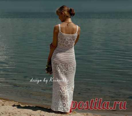 Lace gown A-line bohemian wedding sleeveless crochet dress | Etsy