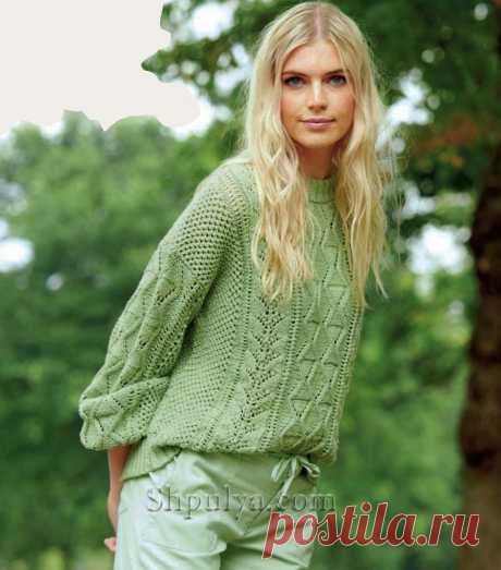 Ажурный пуловер оверсайз с фантазийным цветочным узором — Shpulya.com - схемы с описанием для вязания спицами и крючком