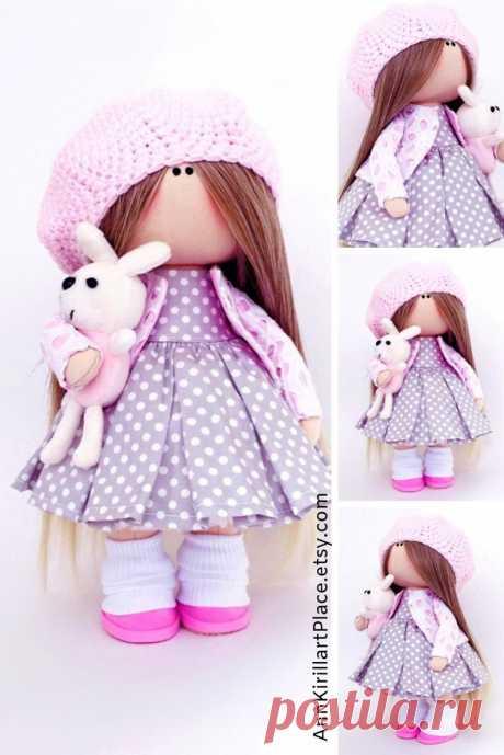 Doll Handmade Nursery Interior Decor Doll Fabric Purple Rag | Etsy