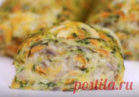 Рецепт рулета из кабачков с сыром и грибами - Kitkatalog