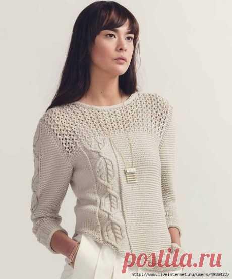 Интересный пуловер с асимметричным рисунком