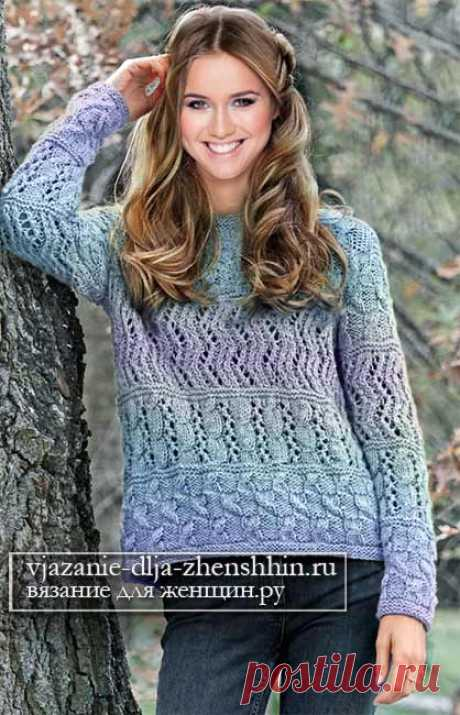 51 узор для свитера спицами женский свитер описание и схема