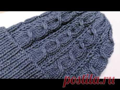 Узор косы спицами для шапок, свитеров, кардиганов. По кругу и поворотными рядами