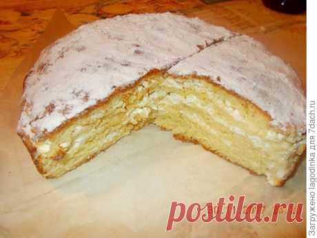 Простой и очень вкусный пирог с творогом (такой пирог можно печь и с вареньем)