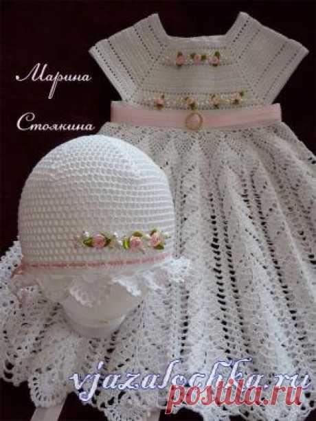 Платье для девочки крючком – «Розовый жемчуг», автор - Марина Стоякина